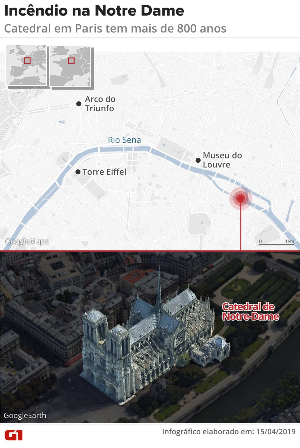 Mapa mostra onde fica a catedral de Notre-Dame, em Paris, que pegou fogo — Foto: Infografia: Rodrigo Sanches/G1