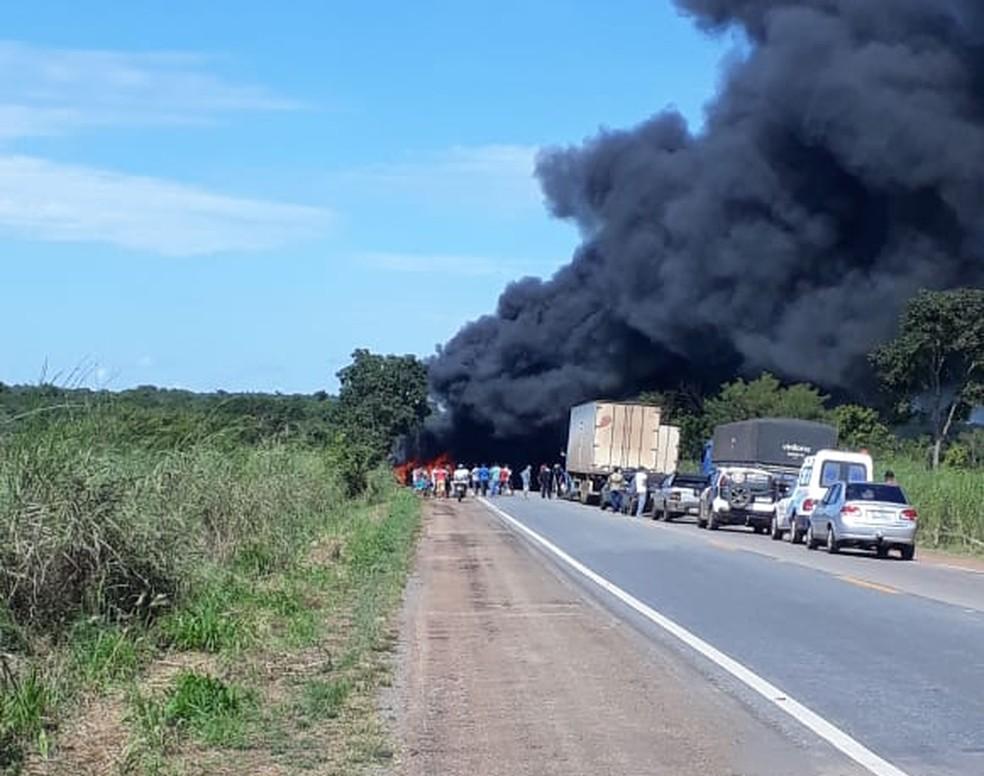 Acidente aconteceu na BR-153 próximo de Cariri do Tocantins — Foto: Divulgação