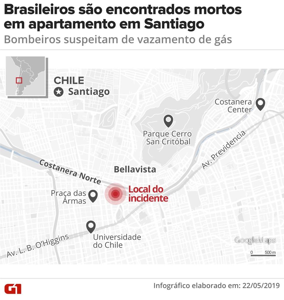 Local onde os brasileiros foram encontrados mortos em Santiago, capital do Chile — Foto: Guilherme Luiz Pinheiro/G1